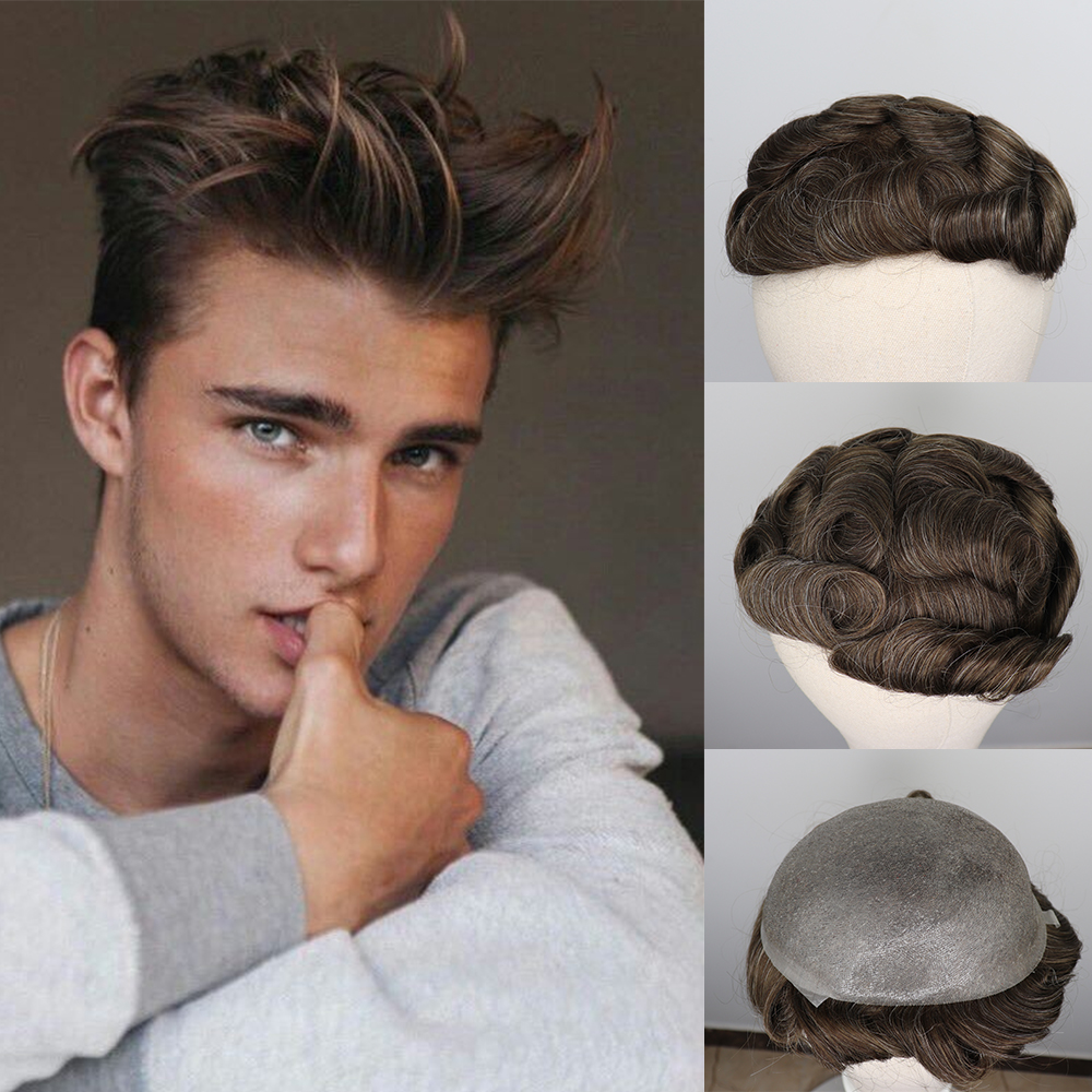 YY Wigs Men Toupee 8x10 Thin Pu Skin Parting Anywhere Brown Mix Grey Replacement System 6 Inch Remy Brazilian Hair Men Wigs
