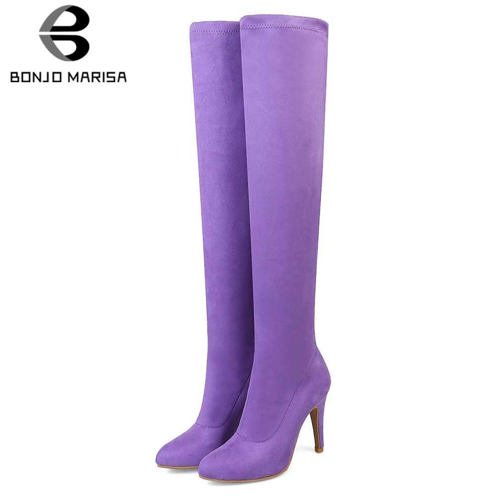 BONJOMARISA 32-45 tatlı şeker renkler diz çizmeler üzerinde bayanlar seksi streç uyluk yüksek çizmeler kadın 2020 yüksek topuklu ayakkabılar kadın