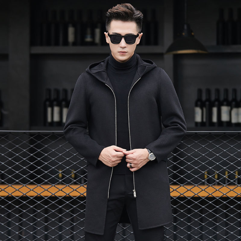 New Hooded Winter Wool Coat Men Leisure Long Sections Woolen Coats Men's Pure Color Casual Fashion Jackets / Casual Men Overcoat
