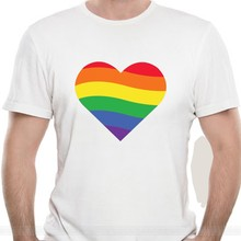 Gay Heart (B) T shirt gay pride love homosexual gay pride gay flag equality cotton tshirt men summer fashion t-shirt euro size(China)