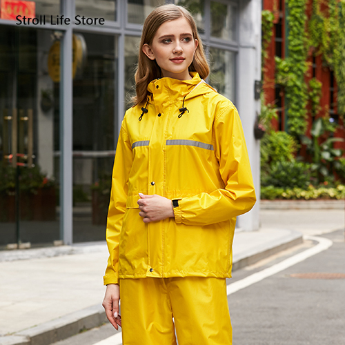 Black Waterproof Motorcycle  Raincoat Rain Pants Suit Set Rain Cover Rain Poncho Women Mens Sports Suits Outdoor Hiking Gift 4