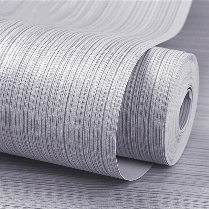 Modern Minimalist Solid Color Vertical Striped PVC Wallpaper Clothing Salon Gray Northern European-Style Plain Color Bedroom