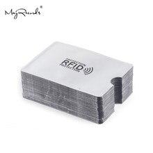Luva anti-varredura de cartão rfid, protetor de cartão de crédito anti-magnético, suporte portátil de folha de alumínio para cartão de banco com 10 peças
