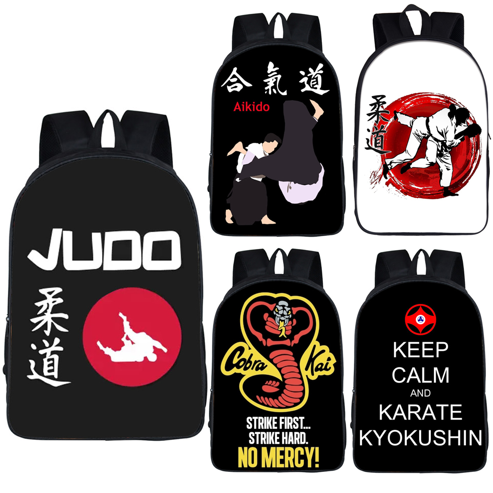 Cool Martial Art Judo / Taekwondo / Karate / Aikido Backpack For Teenage Boys Cobra Kai Book Bag Children School Bags Backpack