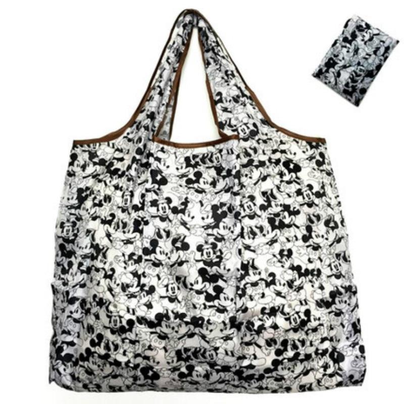 50*60cm Disney Cartoon Folding Bag For Shopping Mickey Mouse Bag Storage High Capacity Green Bag Hand Cartoon Shoulder