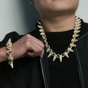 Popular men necklace hiphop necklace with full cubic zirconia stone fashion men chain