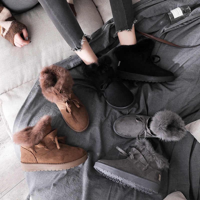 Peluş sıcak kar botları 2019 yeni kış kadın Sequins tavşan saç kar botları kalınlaşmak pamuk Boots Zapatos De Mujer Botas