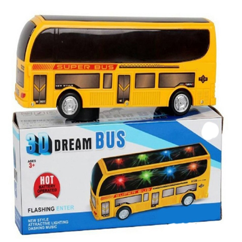 Hot Selling Children Model Toy Shining Universal Music 3D Bus Toy Car Educational Toy Electric School Bus