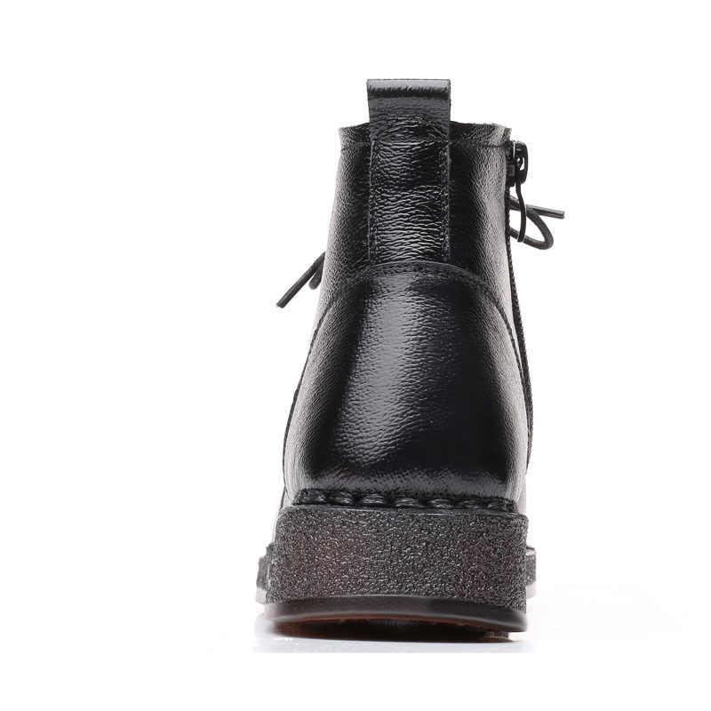 Xiuteng 2019 Moda yarım çizmeler Kadınlar Için Hakiki deri ayakkabı Kadın Siyah Anne Kadın Ayakkabı Yuvarlak Ayak Yumuşak Kaymaz Daireler çizme