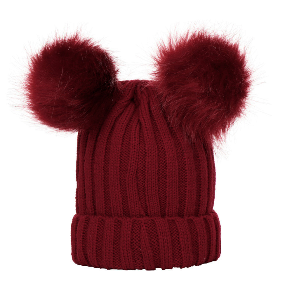 Sleeper #P501 FASHION Baby Boys Girls Winter Solid Color Knit Hat Beanie Hairball Warm Cap Simple Design Daily Hot Free Shipping