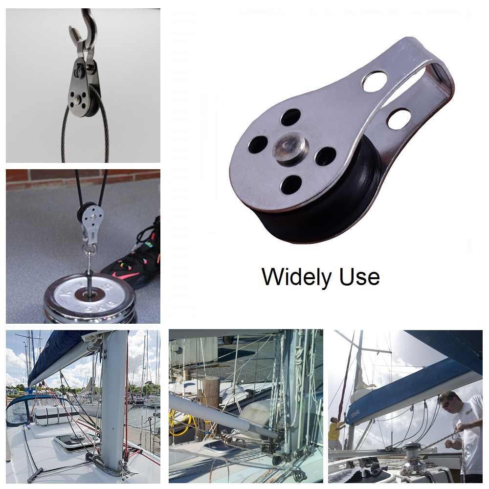 2 sztuk ze stali nierdzewnej 316 koło pasowe 45mm bloki liny sprzęt morski dla kajak kajak kotwica łodzi wózek zestaw 2mm do 8mm liny