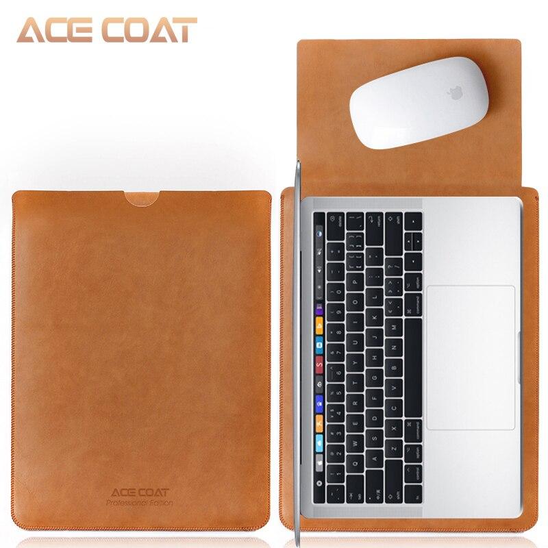 Acecoat microfiber couro do plutônio manga protetor sacos para apple macbook ar pro retina13 12 15 capa para notebook mac book 13.3 polegada