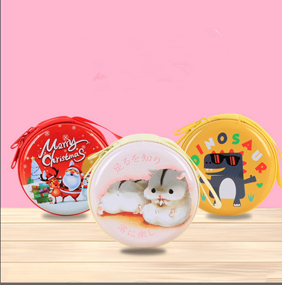 Cute Round Coin Purse Key Wallet Mini Storage Bag Earphone Cartoon Case For Children Women Small Lovely Zipper Pocket Bag