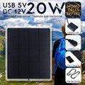 Гибкая солнечная панель 20 Вт  солнечные элементы  модуль DC для автомобиля  яхты  светильник  RV  12 В  батарея  лодка  5 В  Внешнее зарядное устрой...