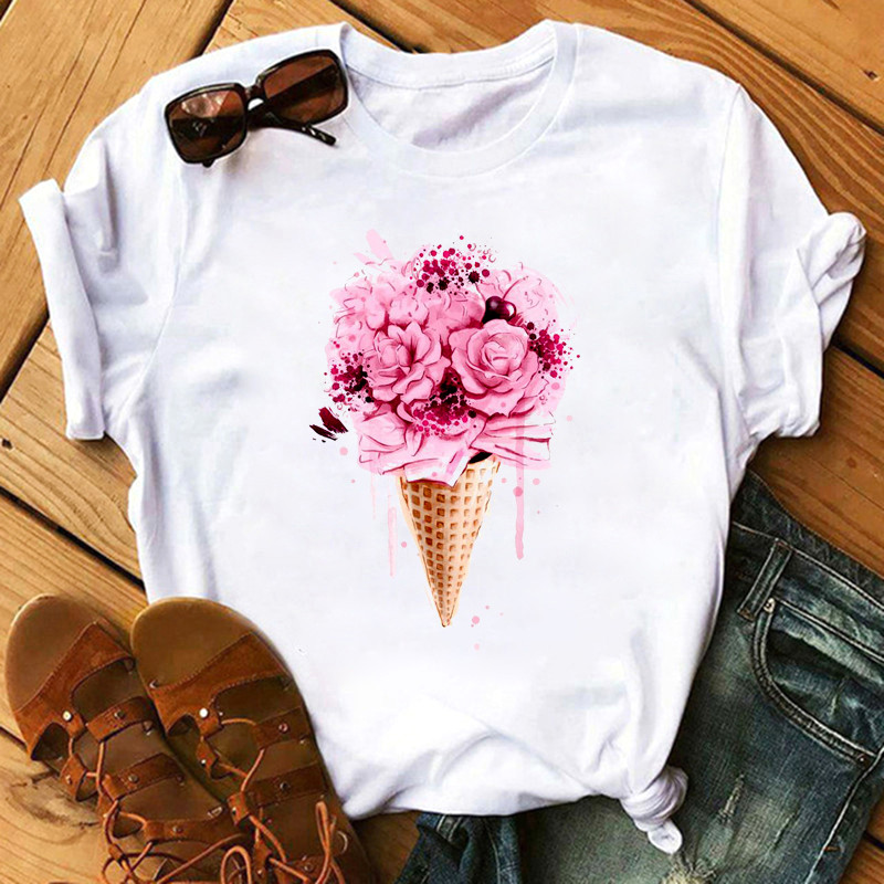 Shirt Ladies 2020 Fashion Ladies Love Summer Casual T-shirt Harajuku Korean Pattern Top Kawaii Female Harajuku T-shirt