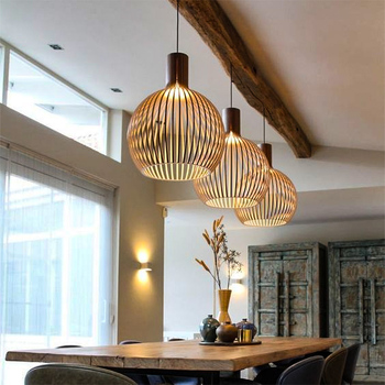 Sam Wooden Pendant Light Birdcage Wood Lamp Modern Designer Black White Hanging light for Restauarant Dining Room bar Lighting modern black wood birdcage e27 bulb pendant light norbic home deco bamboo weaving wooden pendant lamp