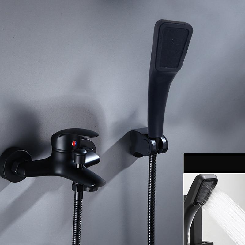 H8e59a84d219e4515ad01e46fb43bb874z Matte Black Bathroom Shower Faucets Bath Shower Mixer Control Valve Water Tap Wall Mount Bathtub HandHeld Shower Head Set