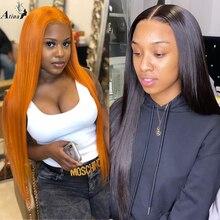 Zencefil peruk 13x6 derin uzun düz dantel ön turuncu İnsan saç peruk ile bebek saç ön koparıp HD şeffaf dantel bölüm ön