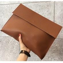ใหม่แฟชั่น 2019 ผู้หญิงผู้ชาย OL กระเป๋าเอกสารกระเป๋าถือซองจดหมายคลัทช์ขนาดใหญ่กระเป๋าถือหนัง Soild สีน้ำตาลสีดำสีแดง