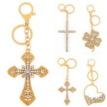 2020 New Cross Cubic Zirconia Shiny Key Chain For Men Women Golden Key Rings For Bags Pretty Birthday Gifts mac shiny pretty things lip set