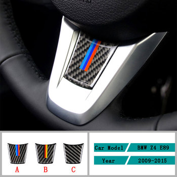 Carbon Fiber Car Accessories Interior Steering Wheel Protective Black Carbon Fiber Cover Trim Stickers For BMW Z4 E90 2009-2015 image