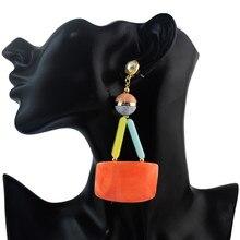 FIAZIA Colorful Drop Earrings For Women Jewelry Accessories Statement Bijou Acrylic Cylinder Dangle Earrings Geometric Earring цена и фото