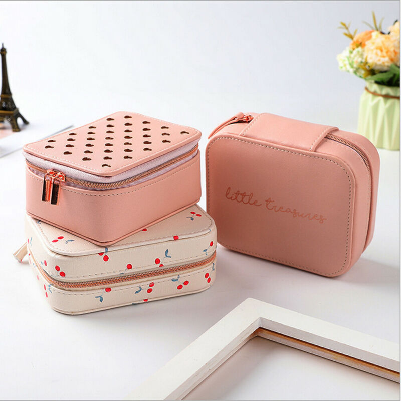Women Love Heart Print PU Leather Jewelry Box Zipper Storage Box Ring Display Lady Case Portable Jewelry Organizer For Necklaces