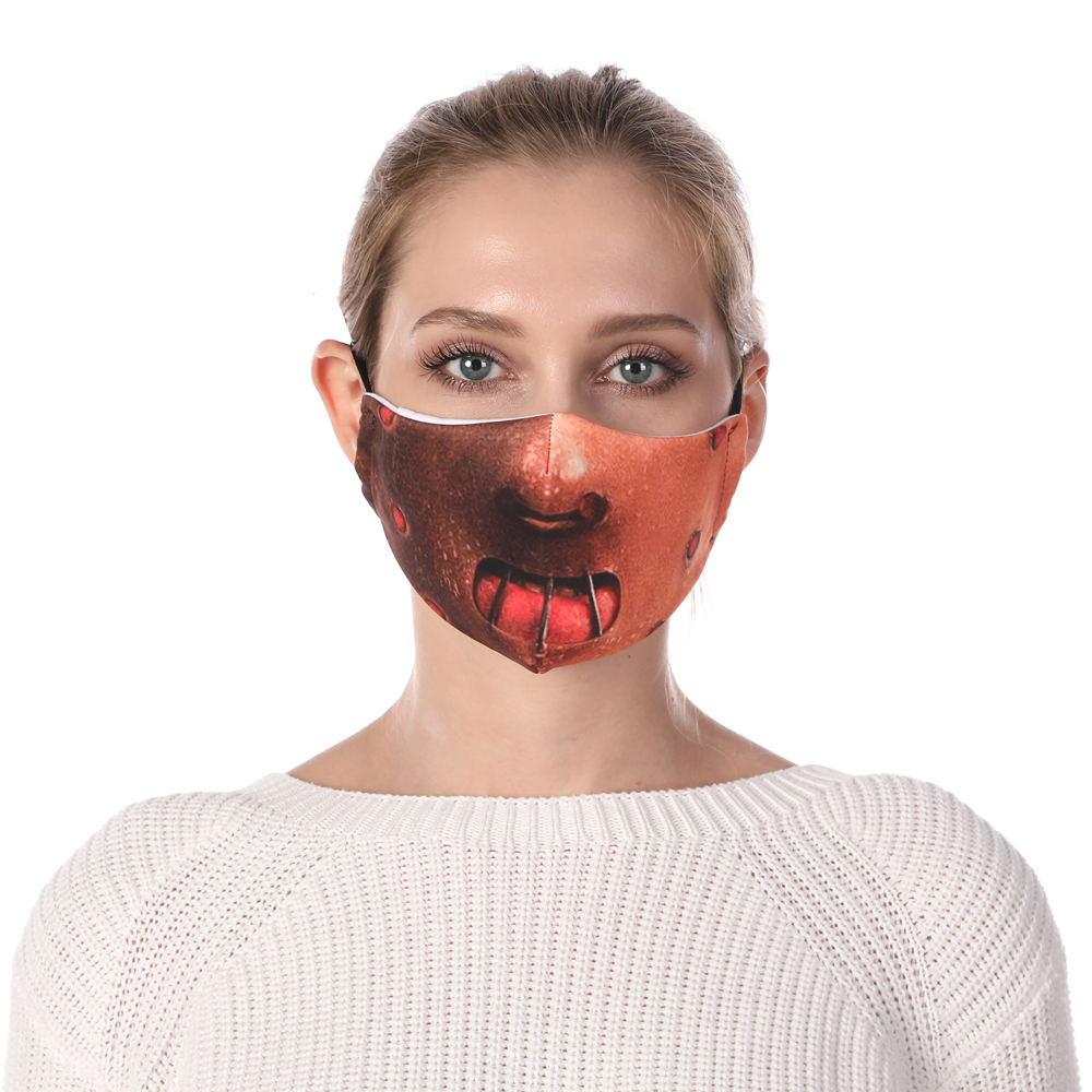Zohra Hannibal Printing Face Mask Reusable Protective PM2.5 Filter Mouth Mask Anti Dust Mask Windproof Adjustable Face Masks
