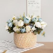 5 رئيس باقة الفاوانيا الزهور الاصطناعية الصغيرة الفاوانيا الحرير الأبيض وهمية الزهور الزفاف زينة لحفلات المنازل زهرة الوردي الفن