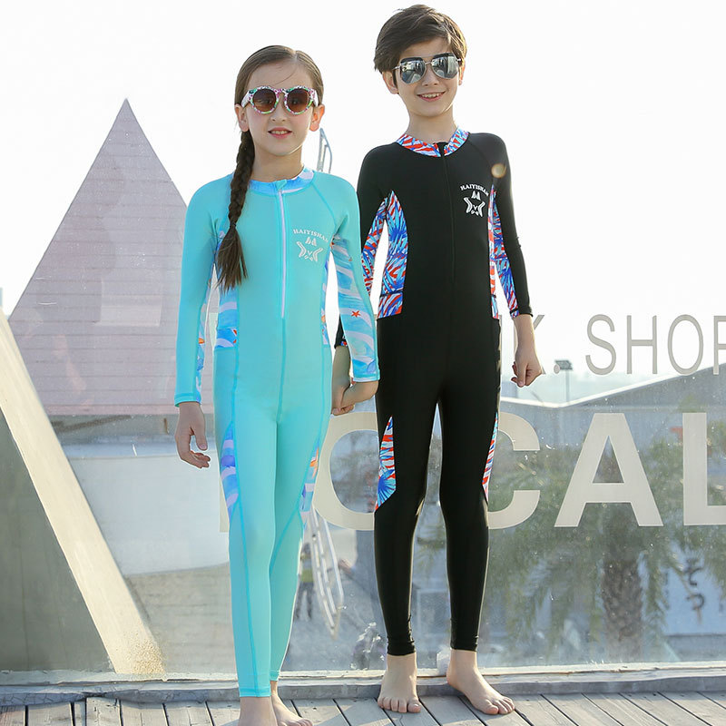 Students Siamese Swimsuit BOY'S Long Sleeve Trousers Full Body Sun-resistant Girls Warm Diving Wetsuit CHILDREN'S Swimsuit