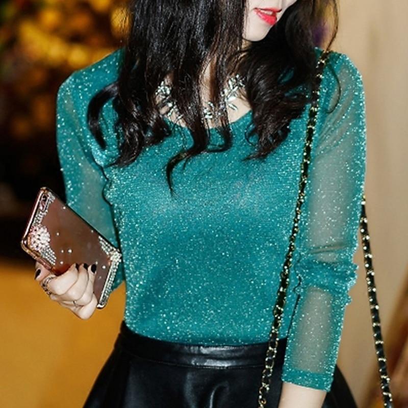 2019 Spring Summer Women's Sexy See Through Mesh Blouse Long Sleeve Transparent Shining Elegant Shirt Fashion Women Tops