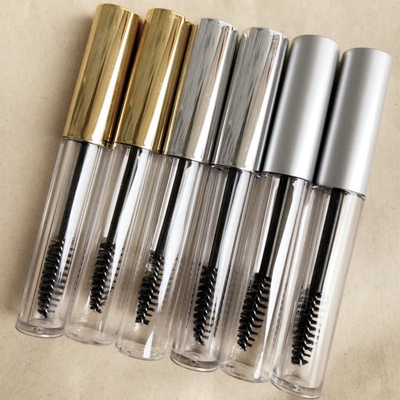 Hot 10ml Portable Empty Bottle Black Eyelash Tube Mascara Cream Vial/Container Fashionable With Silver Lid Refillable Bottles