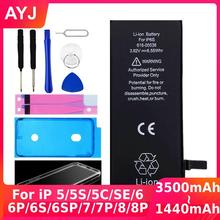 AYJ High Quality Battery for iPhone 6 6S 5 5S SE 7 8 Plus Replacement Zero Cycle Free Repair Tools Kit Battery Tape Case