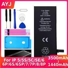AYJ באיכות גבוהה סוללה עבור iPhone 6 6S 5 5S SE 7 8 בתוספת החלפת אפס מחזור משלוח תיקון כלים ערכת סוללה קלטת מקרה
