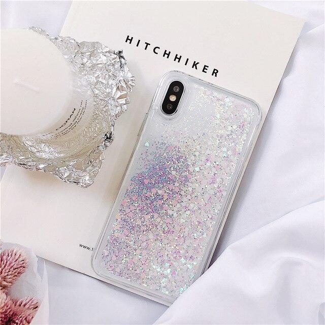 For Samsung Galaxy S5 S6 S7 edge S8 S9 S10 Plus Note 5 8 9 Quicksand Glitter Cover J4 J6 A7 A9 A6 A8 plus 2018 A40 A50 A70 Case
