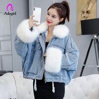 White 2019 Winter Denim Jacket Women Soft Fur Liner Jeans Jacket Fur Collar Outwear Vintage Plus size Loose Thick Warm Jean Coat