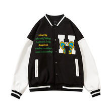 Baseball Jacket Mens Hip Hop Harajuku Streetwear Letter Embroidery Casual Cotton College Bomber Jacket Fashion Men Clothing