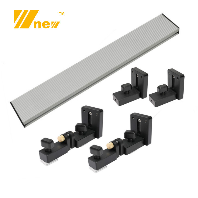 Woodworking Profile Fence and <font><b>T</b></font> <font><b>Track</b></font> Slot Sliding Brackets Miter Gauge Fence Connector for Woodworking Router/saw Table Benches image