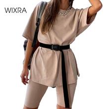 Wixra garnitury damskie odzież rekreacyjna garnitur z szarfami koszulka z krótkim rękawem + spodenki odzież na co dzień damskie zestawy dwuczęściowe lato tanie tanio REGULAR O-neck Elastyczny pas COTTON spandex Poliester WOMEN Swetry Skrzydeł NB-791 Kolano długość Stałe