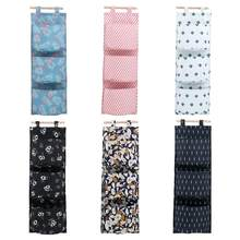 Cotton Linen Printing Hanging Storage Bag 3 Pockets Wall Mounted Wardrobe Hang Bag Wall Pouch Cosmetic Toys Organizer(China)
