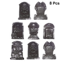 8Pcs Halloween Rekwisieten Schuim Grafsteen Rip Skull Head Spookhuis Rekwisieten Halloween Decoratie Horror Huis Bar Ktv Yard Decoraions(China)
