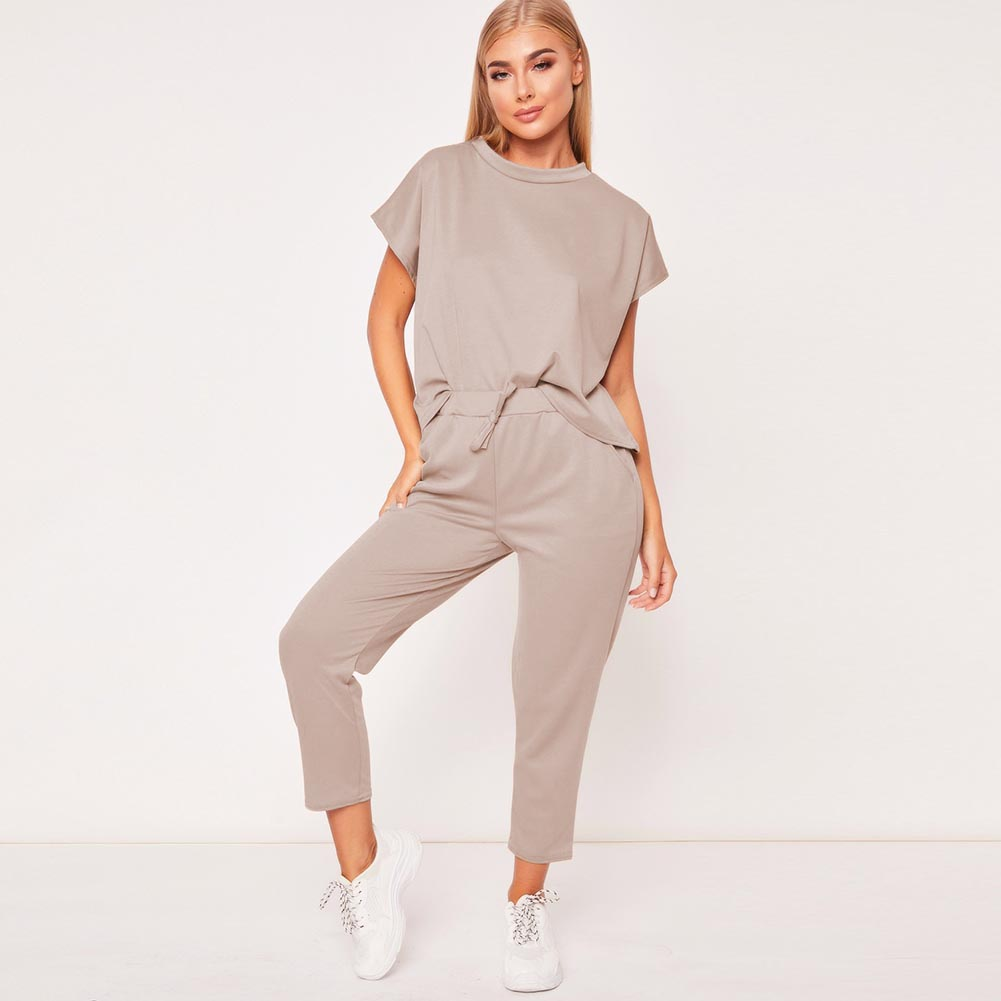 Two Piece Set Women's Summer Tracksuits Casual 2Pcs Short Sleeve O-neck Tops+Cropped Trousers Ladies Lounge Sports Suits