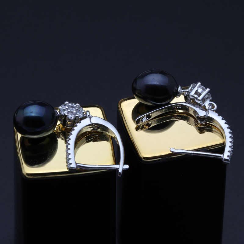 חתונה תלוי עגילי נשים, מים מתוקים הטבעי פרל עגילי כסף 925 תכשיטי אמיתי 8-9mm פנינים קופסא לבנה