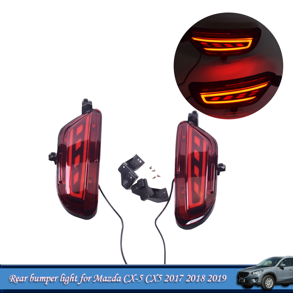 Rear Bumper Light Rear Fog Lamp Lights <font><b>For</b></font> <font><b>Mazda</b></font> <font><b>CX</b></font>-<font><b>5</b></font> CX5 2017 2018 <font><b>2019</b></font> Brake <font><b>LED</b></font> With Turn Signal Light Car Accessories image