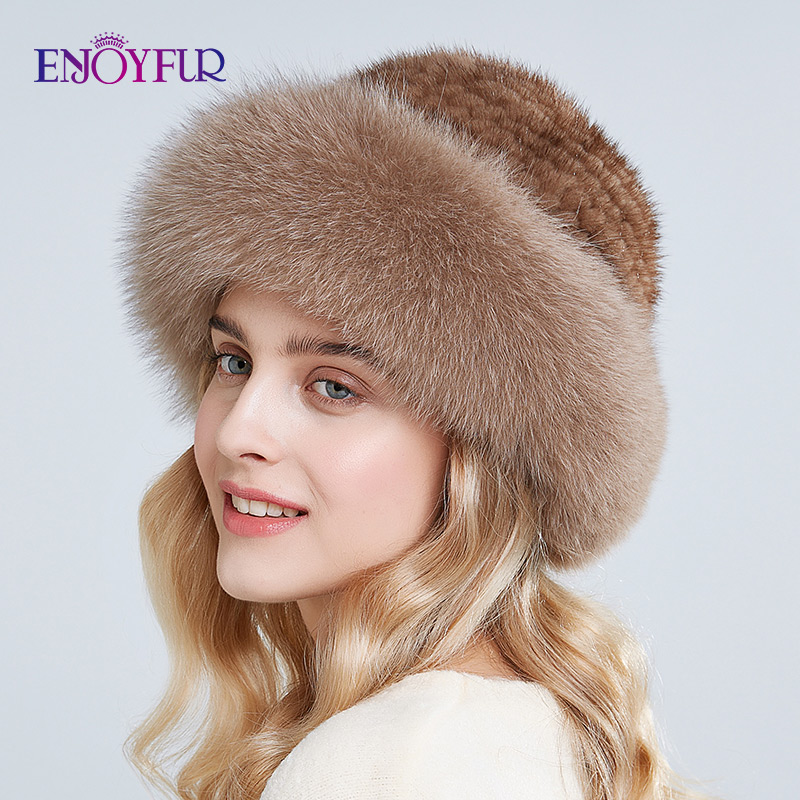 ENJOYFUR Real Fur Hats Winter For Women Caps Natural Mink Fur With Fox Fur Hat New Russian Kintted Buckets Hats