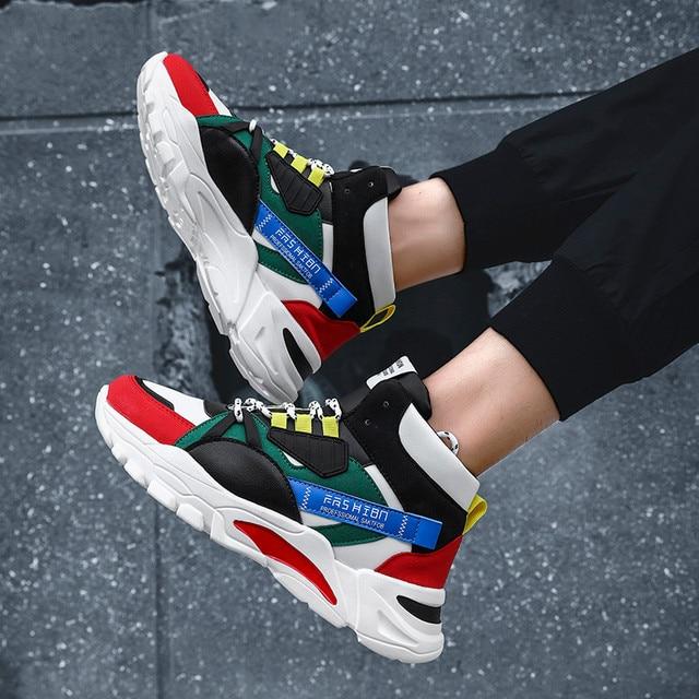 2020 מותג אופנה גברים של נעליים יומיומיות נוח זכר נעליים חיצוני נעלי ספורט גברים פנאי שטוח Chaussure Homme גבוהה למעלה הנעלה