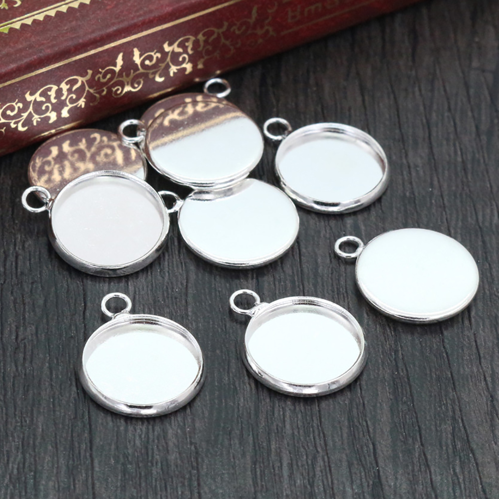 20pcs/lot Fit 12mm Cabochons Bright Silver Plated Cabochon Base Blank Tray Cameo Setting Necklace Bracelet Pendant Charms-A1-09