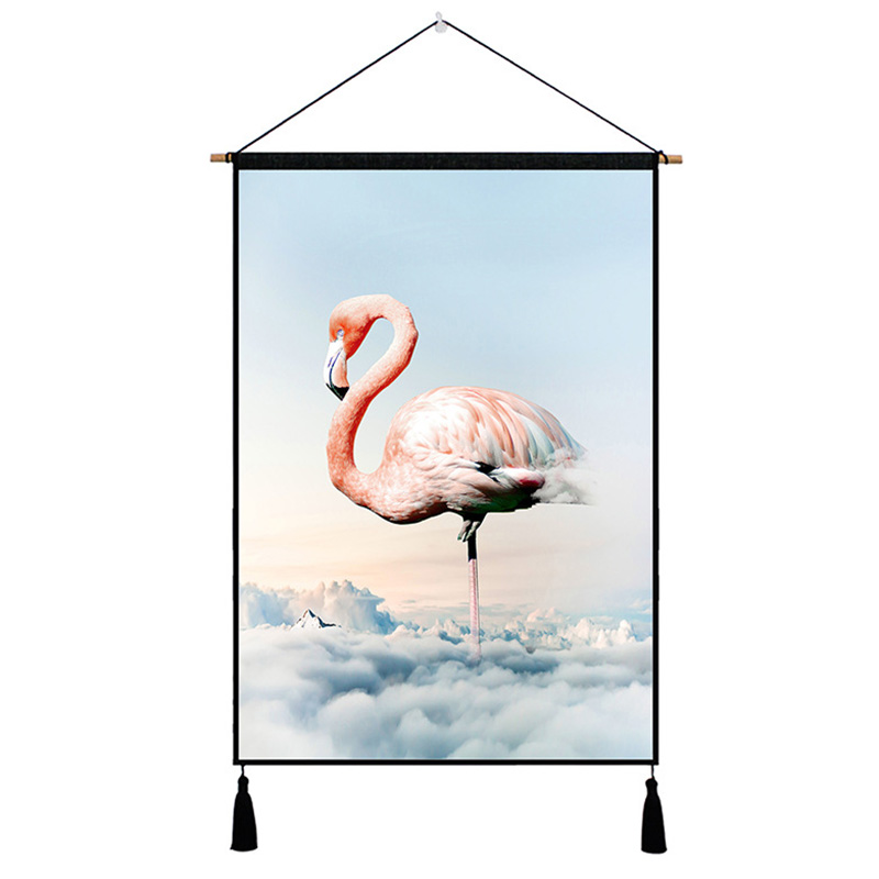 Elegant Flamingo Nordic Tapestry Hanging Wall Picture Cotton Cloth  Art Beautiful Apartment Dorm Living Room Deco Tapestries|Decorative Tapestries| |  - title=