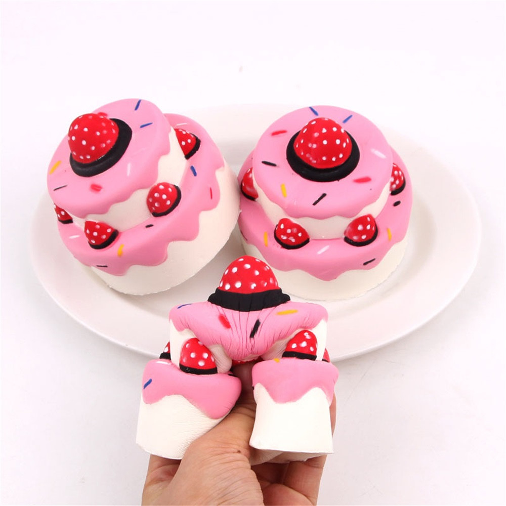 New Cute Squishies Slow Rising Jumbo Strawberry Cake Toys Mini Stress Relief Anti Stress Squeeze Toys Gifts For Kids L1216