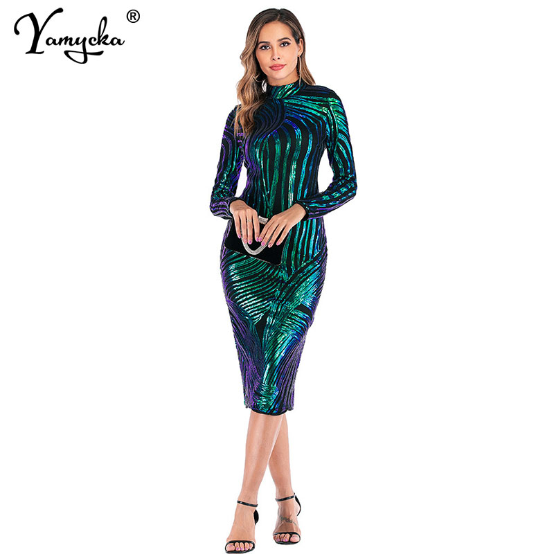 Snake Print Gold Green Sequin Dress Women Sexy Long Sleeve Club Party Dress Elegant Autumn Winter Bodycon Dresses Vestidos 2020